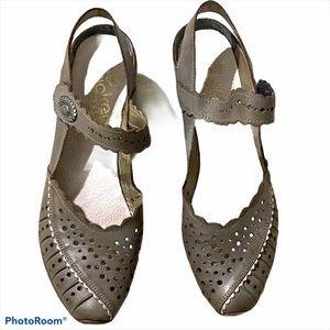 Rieker leather heeled sling back mary jane grey 41
